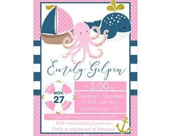 Digital Printable Baby Shower or Birthday Invitation with Nautical Whale and Sail Boat in Pink, Navy Blue and Gold CPP010