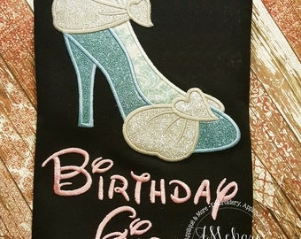 Princess Cinderella Inspired High Heel Shoe Birthday Tee- Customizable - 899b