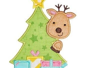 Christmas Tree with Reindeer - Christmas Custom Tee Shirt - Customizable