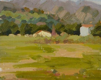 Farm - Plein Air - Oil Painting - California - Country - Rural - Land - Landscape - Green - Bucolic - Spring - Summer - Acres - Ranch