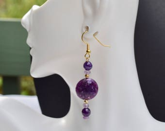 Amethyst and Lepidolite All Natural Gold earrings