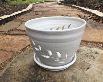 Handmade Orchid Pot in White Speckled Stoneware