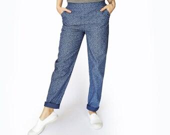Blue pants, Blue elastic waist pants, Printed pants, Blue Trousers, Pockets, cotton pants, loose fit, Comfortable pants, Womens summer pants