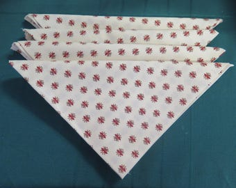 "Cotton napkins. Set of napkins, cloth napkins French Provence. Red little ""flowers"" in white background."