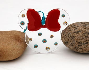 Fused Glass Mouse Ears Ornament, Fused Glass Mouse Ears Suncatcher