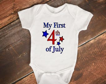 "Baby Onesie - ""My First 4th of July"""