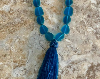 Beach Glass Tassel Necklace