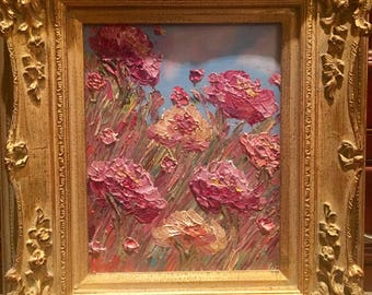 KADLIC Original Oil Painting Floral Still Life Flowers Roses Poppies Fine Art + Gold Leaf Gilt Wood Frame