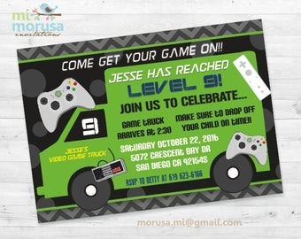 Game Truck, Video Game, Printable Invitation,