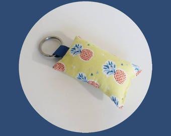 Pale yellow PINEAPPLE fabric key fob