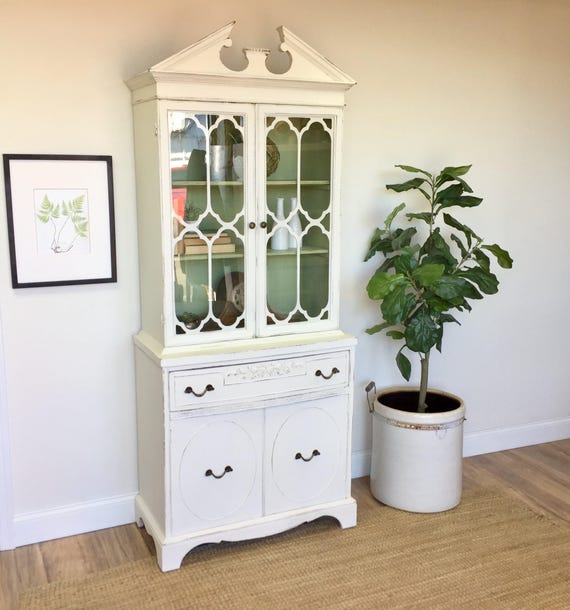 White China Cabinet - Vintage Furniture - Display Cabinet - Farmhouse Furniture - Dining Room Storage, Vintage China Cabinet, Dining Cabinet