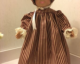 Pretty brown striped praie outfit with bonnet.