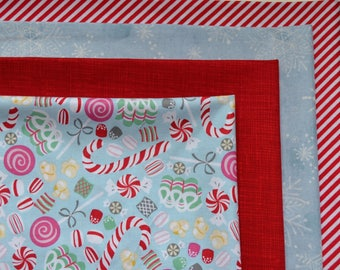 Christmas Fabric Bundle /4 Fat Quarters/Diagonal Stripes/Candy Canes, Snowflakes/Blue, Red/Quilting, Crafts/Cotton Holiday Sewing Material/