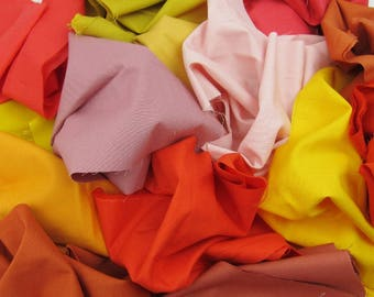 Solid Scraps in Warm Colors - 1 Pound of Scraps