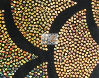 2 Tone Holographic Scale Spandex Fabric - BLACK/GOLD - Sold By The Yard Dress Costume Clothing Accessories Decor