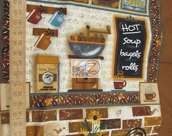 100% Cotton Fabric By SPX Fabrics - Caffe Latte At Your Service - Sold By The Panel (FH-3643) DIY Clothing Accessories Decor