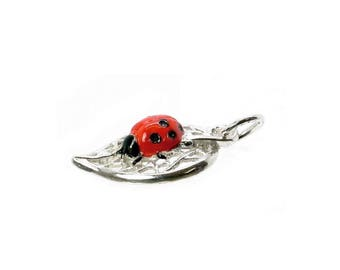 Sterling Silver Ladybird/Bug On Leaf Charm For Bracelets