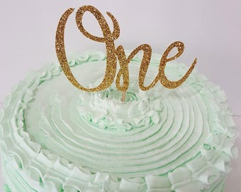 Gold Glitter ONE Cake Topper in script font Ready to ship
