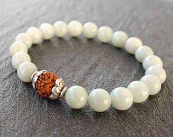 Amazonite mala bracelet Sterling silver amazonite bracelet mala Healing bracelet for women Meditation beads Yoga gift Boho stretch bracelet