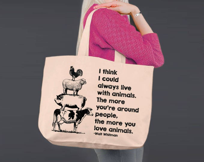 Love Animals | Vegan Gift | Walt Whitman | Tote Bag | Canvas Tote Bag | Canvas Tote | Shopping Tote | Shopping Bag | Korena Loves