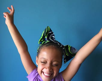 "Blue and Green Oversized African Wax Print Curlitude ""Madonna""  Bow Headband for Adults and Kids"
