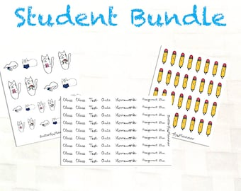 Student Bundle Vinyl Planner Stickers, Back to School Deal