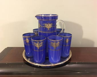 Rare 1920s Vintage 1930s Art Deco Period Cased Blue Frosted Sterling Overlay Pitcher 6 Glasses Serving Tray Glassware Set Floral Swag Design