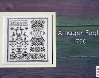 Amager Fugle - Crosstitch sampler pattern w/traditional bird motif