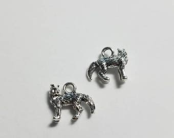 Silver Standing Dog Charms