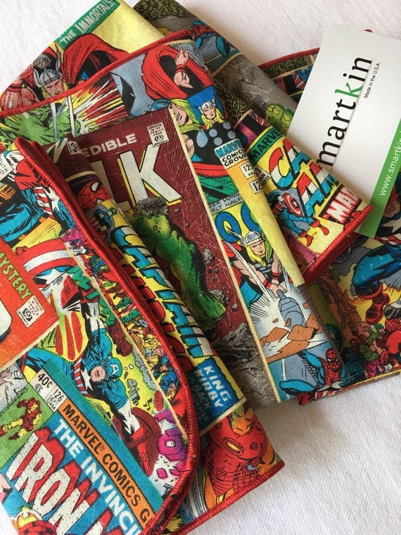 Avengers Comic Book All Cotton Cloth Lunch Box Napkin 12x15 in Size Style Three by Smartkin