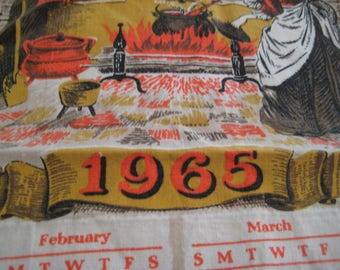 1965 calendar towel, kitchen calender towel, Theres no place like home