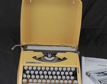 1967 Yellow Techno Pica Hermes Baby Restored Vintage Portable Typewriter W/ WARR