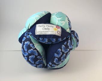 Blue Butterfly Amish Fabric Puzzle Ball Child Pet Toy