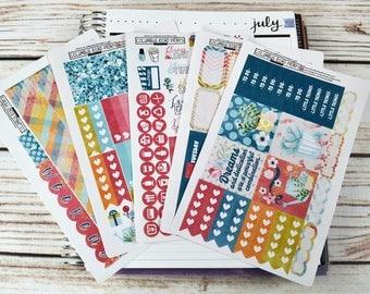 "JULY HORIZONTAL ""Dreams and Dedication"" Planner Stickers Kit, fits Erin Condren Horizontal Life Planner, JULY Horizontal, Horizontal Kit"