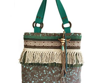 Fringed tote bag brown turquoise, OOAK gift for her, fabric bag handmade, Aztec handbag turquoise brown, unique bags bohemian style