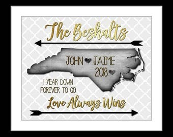 New Love, 1 Year Anniversary Gift For Him One Year Anniversary For Her Custom Map Unique Wedding Gifts For Men Any States, Canvas Option