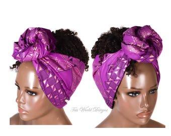 Head Wrap, Purple and gold / Gift Ideas/ Ghana fabric head wrap/ cotton fabric headwrap/ African Head wraps/ Turban wrap HT234