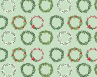 Christmas Fabric Mint Comfort Wreaths by Dani Mogstad for Riley Blake Comfort and Joy Collection Christmas Wreath Fabric Mint Holiday Fabric