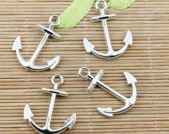 16pcs tibetan silver color curved anchor charms EF2424