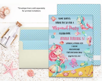 Mermaids Invitation | Kids Birthday | Printable Digital File | KBI127DIY