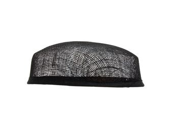 Sinamay Pillbox Black Fascinator Hat Base - Available in 3 Colors