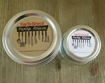Mason Jar Canning Labels -  Kitchen Utensil Design - Personalized Canning Labels - Custom Canning Labels - Regular or Wide Mouth