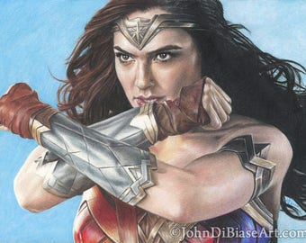 Print of Colored Pencil Drawing of Gal Gadot (actress from Wonder Woman / Batman V Superman / Justice League) 8.5 x 11