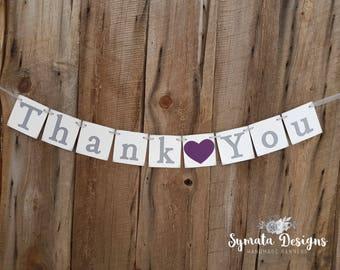 Thank you heart banner - photo prop - wedding decoration- Boysenberry Purple heart- grey lettering - lower case letters - romantic - IATY141