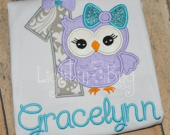 Girly Owl Birthday Shirt