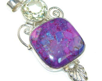 Turquoise, Citrine Sterling Silver Pendant - weight 18.20g - dim L -2 7 8, W -1 1 4, T -1 4 inch - code 17-wrz-15-21