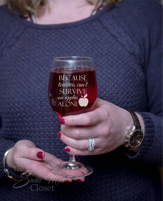 Custom Etched Teacher Gift Wine Glass Funny & Cute