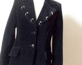 Fitted black velvet jacket reworked