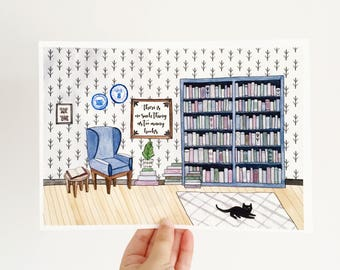 Too Many Books - Watercolour Print - Literary Quote - Literary Print - Book Lover Print - Book Lover Gift - Literary Gift - Reader Gift