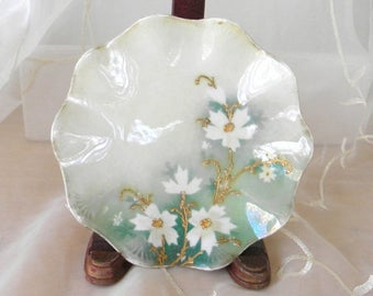 Summer Sale Beautiful Hand Painted Floral China Plate, White and Gold Cosmos Flowers Green and White Background, Scalloped Edges, Shabby Chi